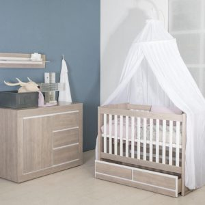 Bebies First- Babykamer Colorado - 2-delige - Ledikant - Commode - Grijs - Wit