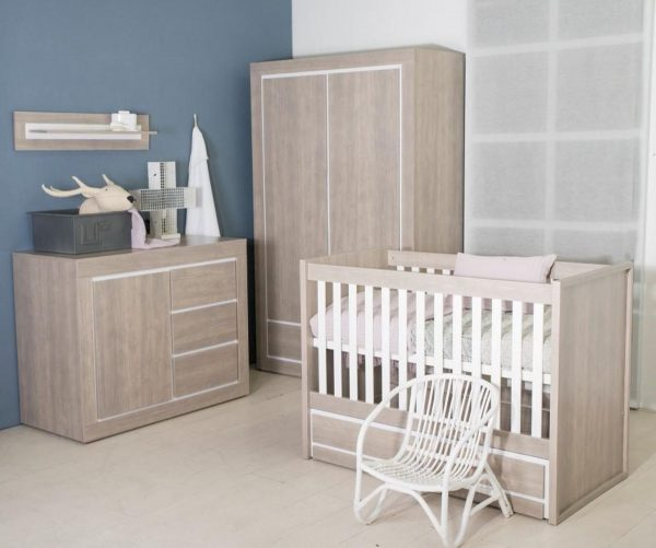 Bebies First- Babykamer Colorado - 3-delige - Ledikant - Commode - Kledingkast - Grijs - Wit