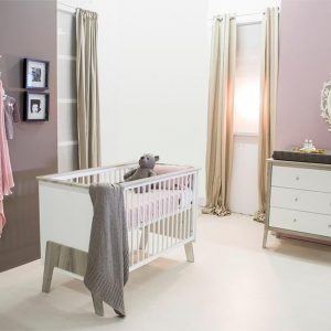 Bebies First - Babykamer Nicky - 2-delige - Ledikant - Commode - Wit - Grijs