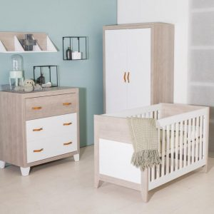 Bebies First - Babykamer Boston - 3-delige - Ledikant - Commode - Kledingkast - Wit - Grijs