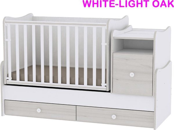 Trend Plus Lorelli combi ledikant 5 in 1 met schommel functie white-light-oak