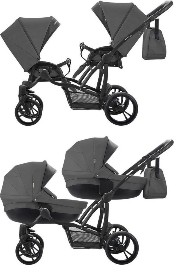 Bebetto 42 Duowagen - Tweeling kinderwagen - duo buggy 2 in 1 (2 wiegen + 2 zitjes) Grey Black Frame
