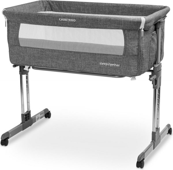 Caretero sleep2gether aanschuifbedje Co sleeper op wielen - kinderbedje - open voorkant Graphite
