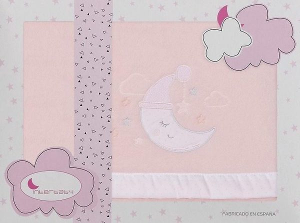Interbaby Lakenset Wieg Maan 110 X 82 Cm Polyester Roze 3-delig