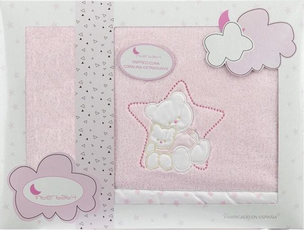 Interbaby Lakenset Wieg Ster 110 X 82 Cm Polyester Roze 3-delig