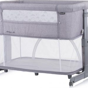 """Chipolino Co sleeper wieg & speelbox in 1 """"MOMMY 'N ME"""" aanschuifbed - babybed- campingbed GRAY CLOUDSgbed"""